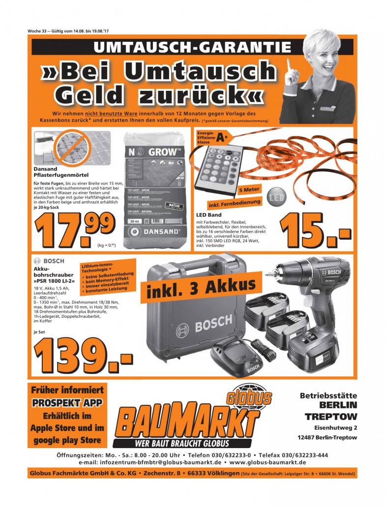 Globus Baumarkt Prospekte gültig von 14.08.2017 bis 19.08.2017