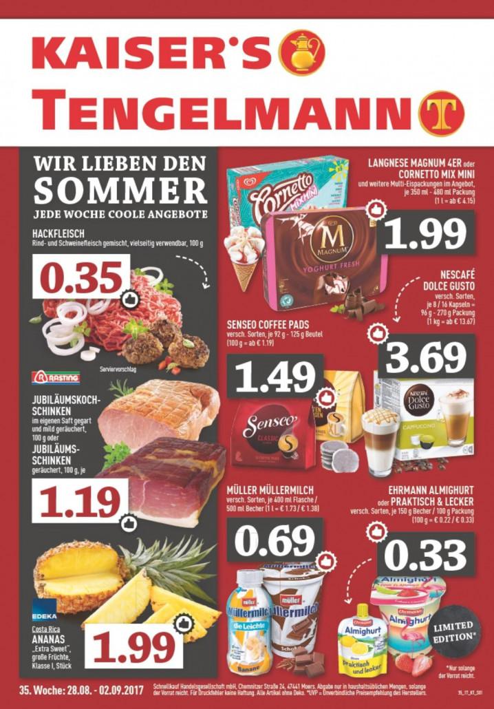 Kaiser's Tengelmann Nordrhein - Angebote und Prospekte gültig von 28.08.2017 bis 02.09.2017
