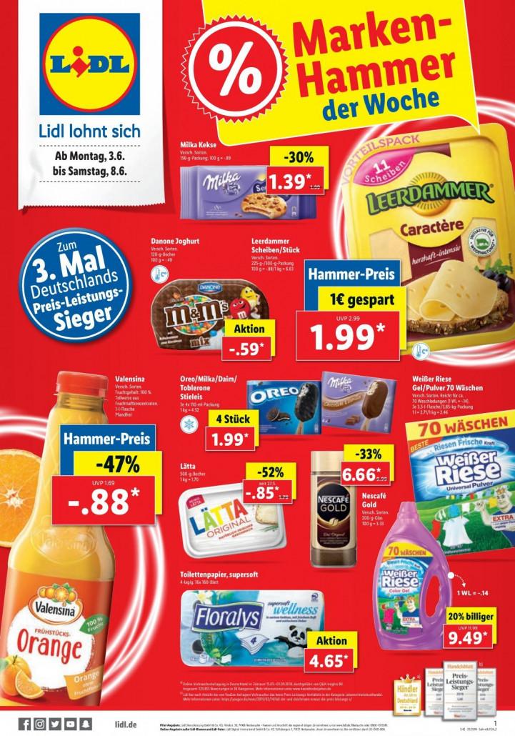 Lidl Prospekte gültig von 30.06.2019 bis 08.06.2019 - Marken Hammer der Woche