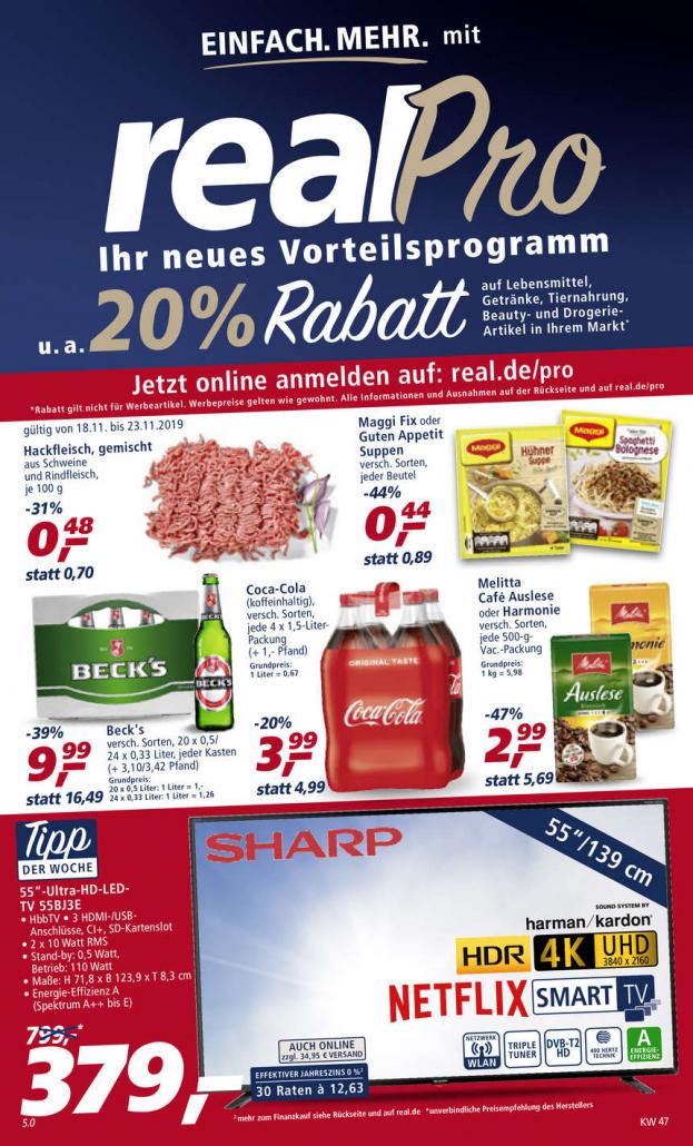 Real Prospekte 18.11.2019 - 23.11.2019 - Real Prospekt Woche 47